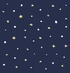 cute dark seamless pattern with snow and stars vector image