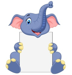 Cute elephant holding blank sign vector