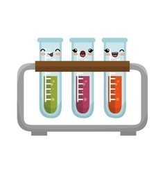 Cute kawaii test tube rack icon design vector