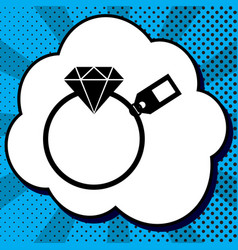 diamond sign with tag black icon in vector image