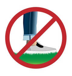 Do not step on grass sign vector