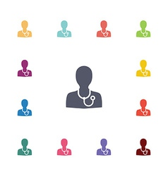 doctor flat icons set vector image