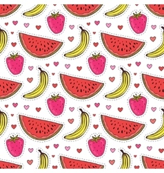 Doodle seamless pattern with fruits Banana vector