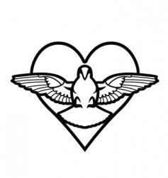 Dove heart tattoo vector