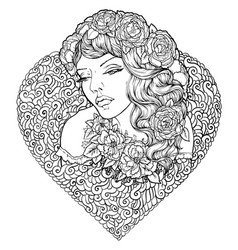 face of pretty elegant boho girl vector image