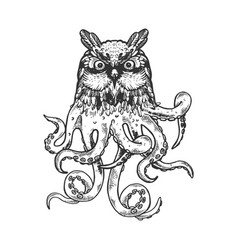 fantastic owl octopus animal engraving vector image