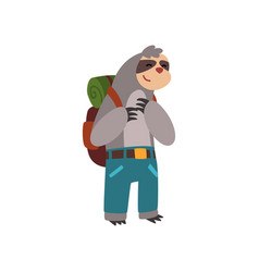 funny sloth traveling with backpack cute animal vector image