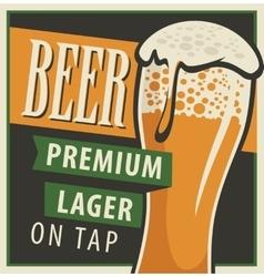 Glass beer in retro style vector