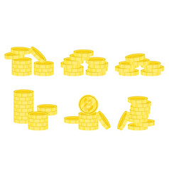 gold stack of bitcoin coins vector image