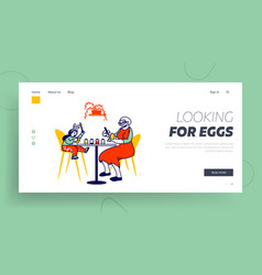grandmother and little girl painting eggs landing vector image