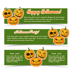 greeting halloween party horizontal banners vector image