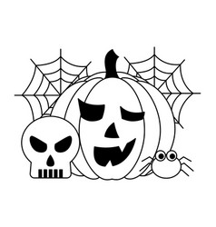 halloween pumpkin with spider and set icons vector image