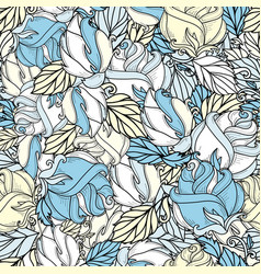 Hand drawn sketch rose seamless pattern vector