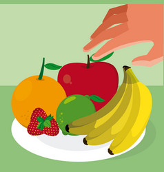Hand grabbing fruits vector
