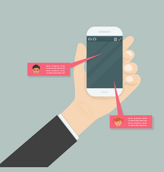 hand holding mobile phonesocial network vector image