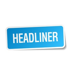 Headliner blue square sticker isolated on white vector
