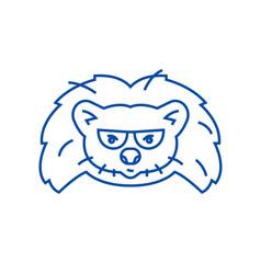 hedgehog head line icon concept hedgehog head vector image