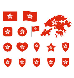 hong kong flag icons set symbols of the flag of vector image
