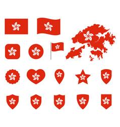 hong kong flag icons set symbols of the flag vector image