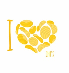 I love chips Symbol heart of potato chips Frying vector image