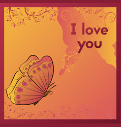 I love you e-card for your beloved postcard with vector