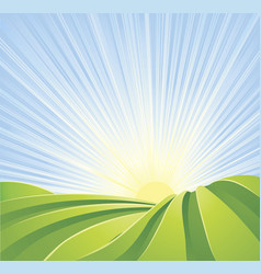 idyllic green fields with sun rays and blue sky vector image
