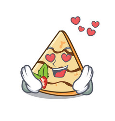 In love crepe mascot cartoon style vector