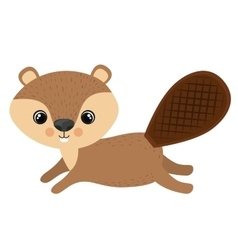 Isolated beaver cartoon design vector image