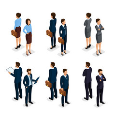 Isometric businessmen front and back view vector