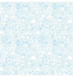 Line Birthday White Seamless Pattern vector image