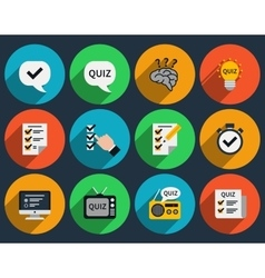 Mind games and quizzes flat icons vector image