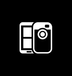 Mobile photo blogging icon flat design vector