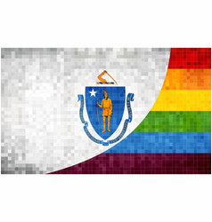 Mosaic massachusetts and gay flags vector