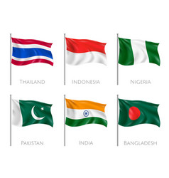 national flags realistic set vector image