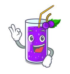 Okay glass grape juice on character table vector