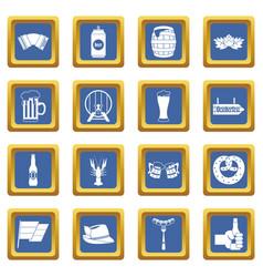 Oktoberfest icons set blue vector