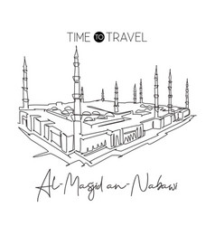 One continuous line drawing masjidil an nabawi vector