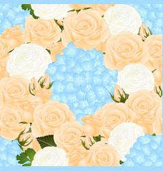 orange rose blue hydrangea and white ranunculus vector image