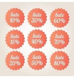 Orange sale badge stickers set vector image