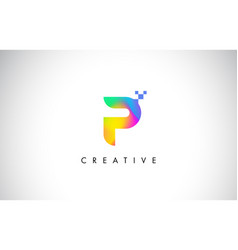 P colorful logo letter design creative rainbow vector