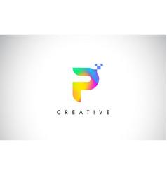 P colorful logo letter design creative rainbow vector