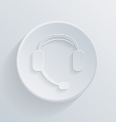 Paper circle icon with a shadow customer support vector