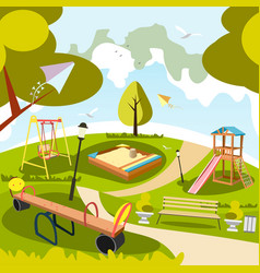 park and playground cartoon vector image