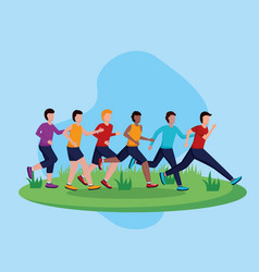 people running activity vector image