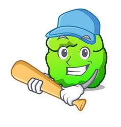 Playing baseball shrub character cartoon style vector