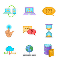 Progressive advertising icons set cartoon style vector