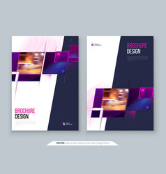 Purple brochure cover template layout design vector
