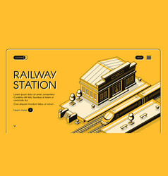 railway station isometric landing page vector image