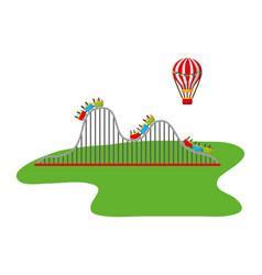 roller coaster and hot air balloon carnival fun vector image