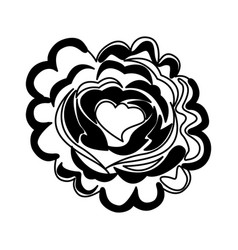 Rose with heart icon vector
